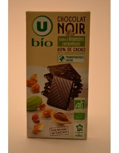 CHOCO.NOIR AMANDES U BIO 100G - Chocolats
