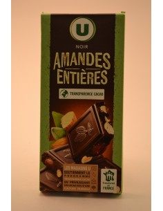 CHOCOLAT NOIR AMANDES U 200G - Chocolats